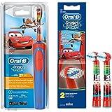 SPAR-SET: 1 Braun Oral-B Stages Power AdvancePower Kids 900TX elektrische Akku-Zahnbuerste Kinder 3 J. (D12.513.K) Disney CARS und 2er Stages Power Aufsteckbuersten CARS