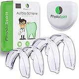 PhysioSpirit PREMIUM Aufbissschiene - Zahnschiene gegen Zähneknirschen - Zahnschutz, Beißschiene für die Nacht - Professioneller Zahnschutz (4er Set)
