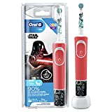Oral-B Kids Star Wars Elektrische Zahnbürste für Kinder ab 3 Jahren, extra weiche Borsten, 2 Putzprogramme inkl. Sensitiv, Timer, 4 Star Wars-Sticker, rot (Produkt kann von Abbildung abweichen)