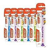 elmex Lern-Zahnbürste, weich, 6er Pack - Zahnbürste für Kinder von 0-2 Jahren mit Baby-Zahnpasta, versch. Farben (Farben nicht wählbar)