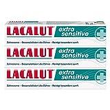 LACALUT EXTRA SENSITIVE ZAHNCREME, 75ml Zahnpasta, spürbare Besserung bei schmerzempfindlichen Zähnen und Zahnhälsen, 3 x 75ml