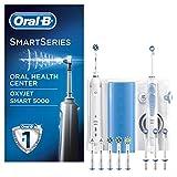 Oral-B Mundpflege-Center Smart5000 Elektrische Zahnbürste+Oxyjet Munddusche, für effektive Plaque-Entfernung & gesünderes Zahnfleisch, 4Oxyjet Aufsteckdüsen, 6Aufsteckbürsten, weiß